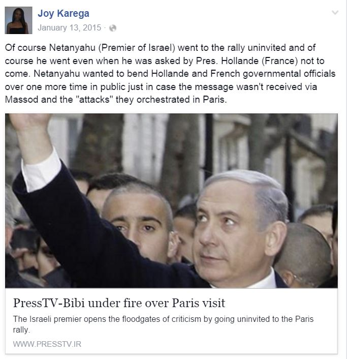 Oberlin-Joy-Karega-Facebook-Paris-Attack-Netanyahu-orchestrated