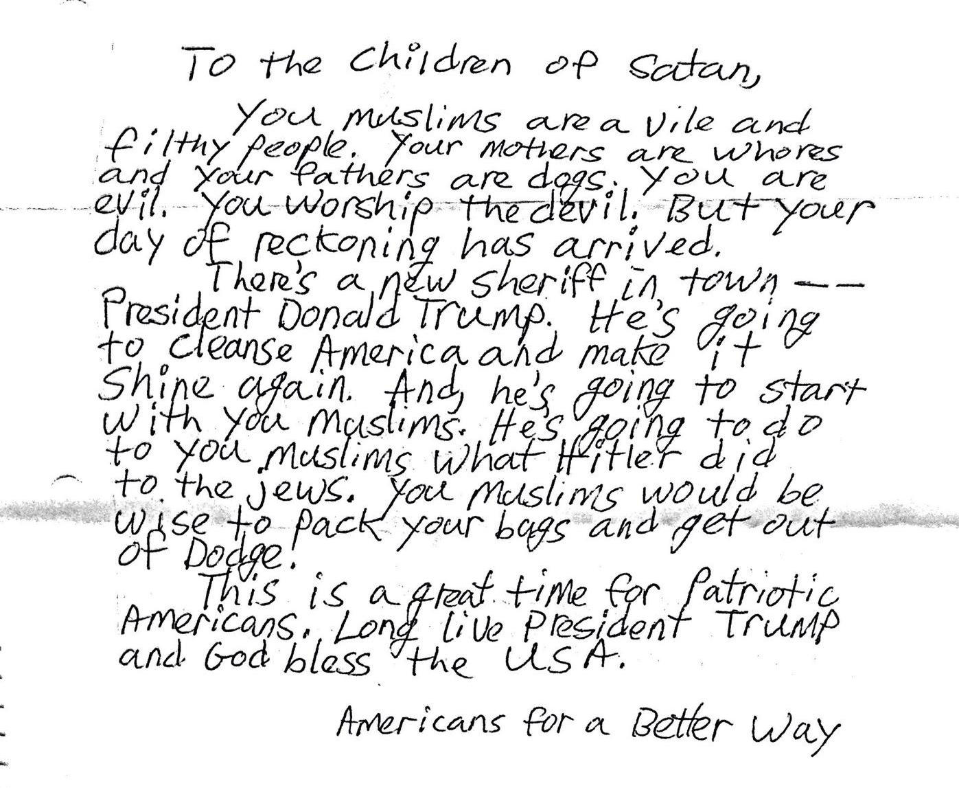 Another Anti-Muslim Hate Letter Allegedly Sent To A -1703