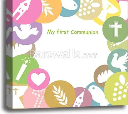 Canvas Print Of First Communion Invitation Card
