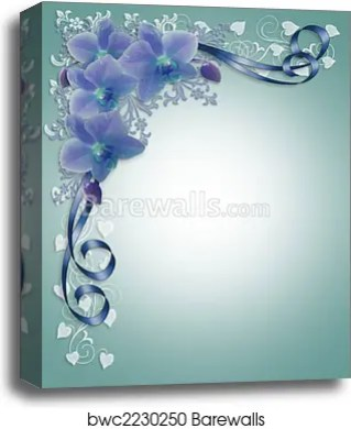 Blue Orchids Wedding Fl Border Canvas Print