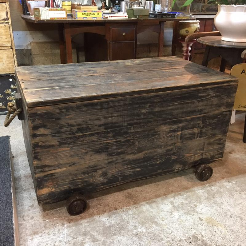 Old Wood Box Cast Iron Wheels opt