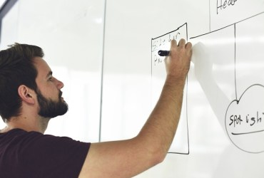 Man creating business plan on white board