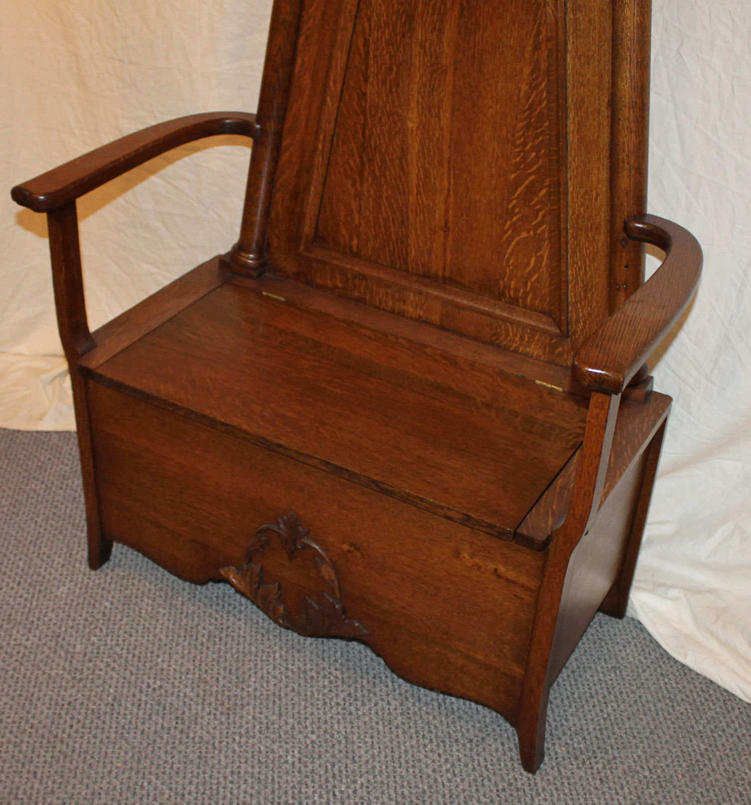 Bargain John S Antiques Antique Oak Hall Seat With