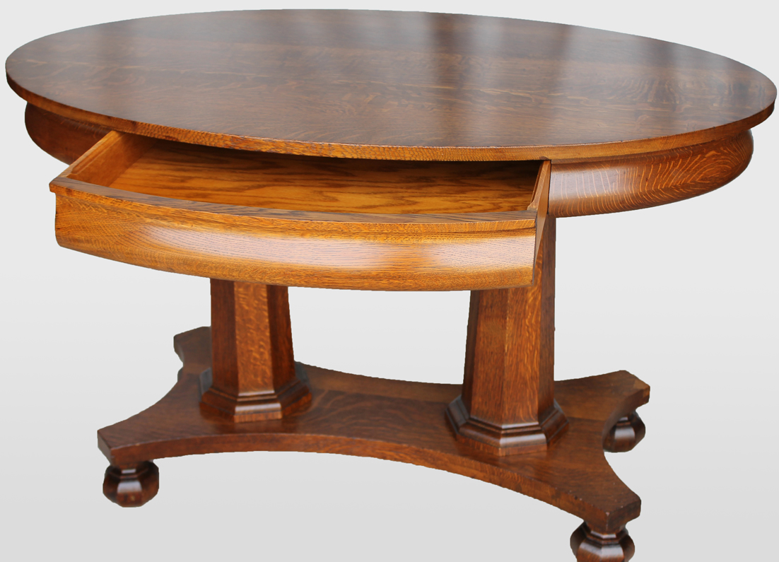 Bargain John S Antiques Oak Oval Library Table With