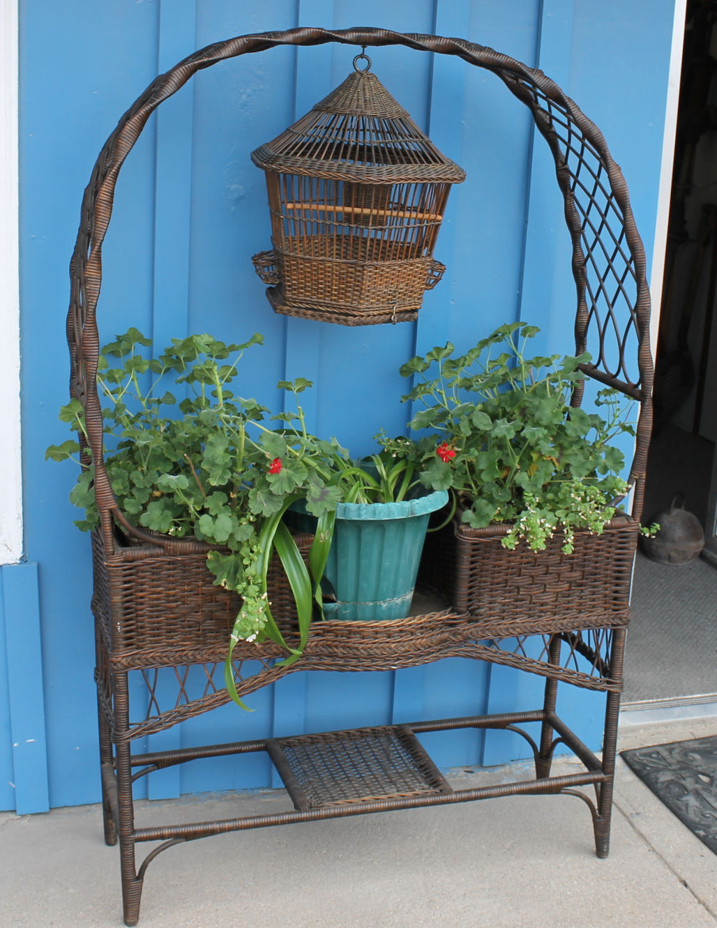 Bargain John's Antiques | Antique Wicker Fancy Plant Stand ... on Plant Stand Hanging  id=58325