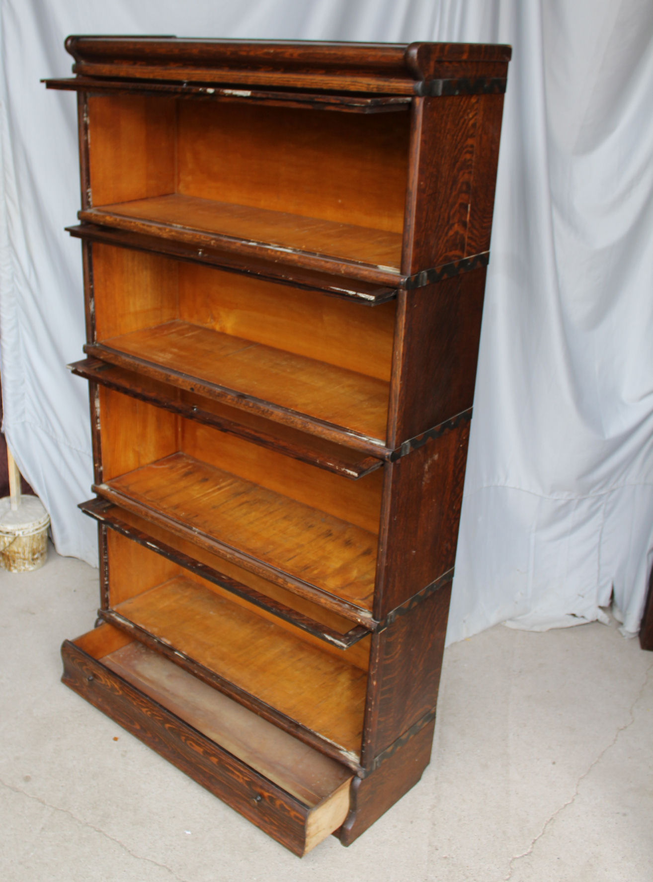 Antique Macey Oak Barrister Bookcase Drawer In The Base