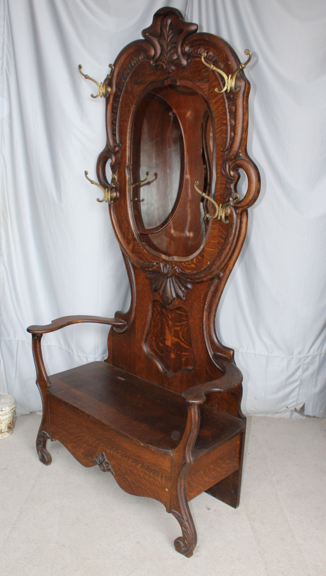 Bargain John S Antiques Antique Oak Hall Seat Or Tree