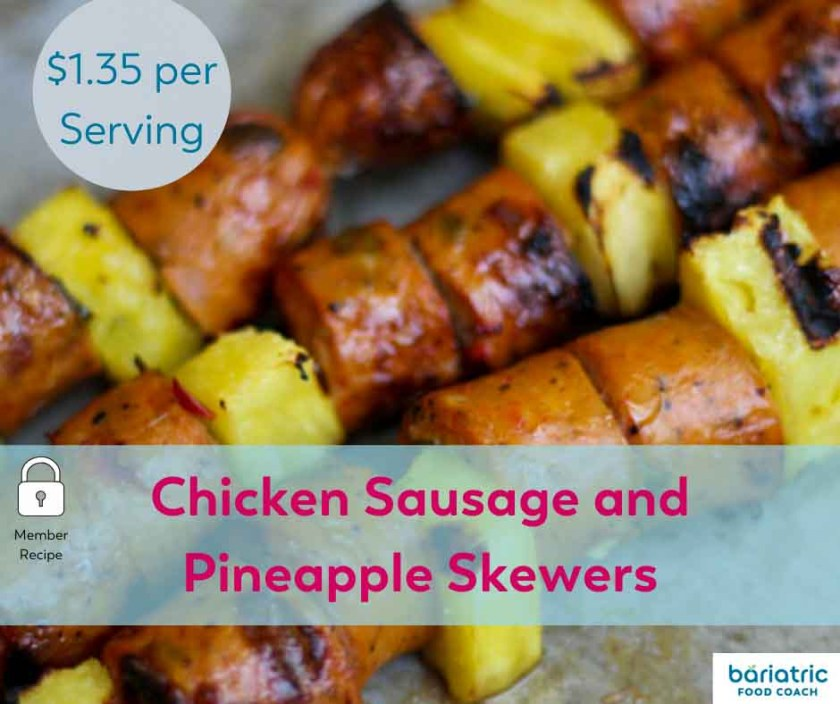 Bariatric Meals on a Budget: Chicken Sausage and Pineapple Skewers