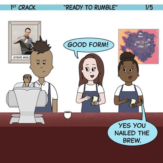 Primer cómic de Crack a Coffee para el fin de semana - 16 de octubre de 2021 Panel 1