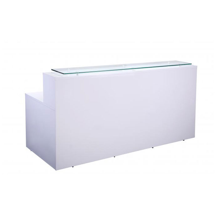 White Reception Counter With Glass Sign In Area Long