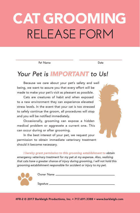 Cat Grooming Release Form  Barkleigh Store