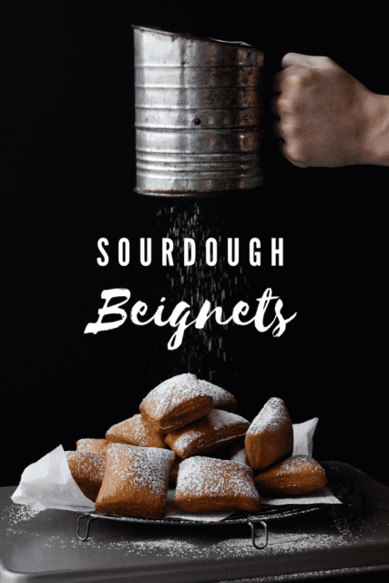 sourdough beignets with powdered sugar