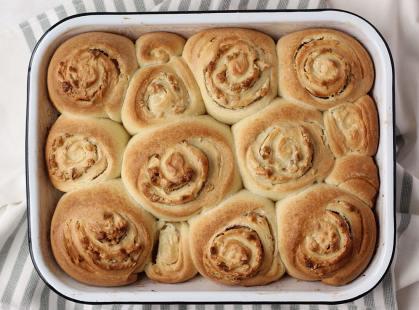 sourdough sweet roll buns in enameled pan