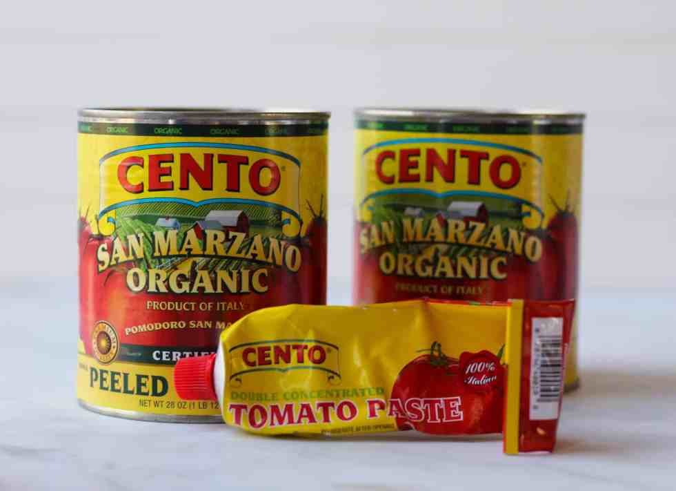 2 cans of Cento San Marzano tomatoes and tube of Cento tomato paste