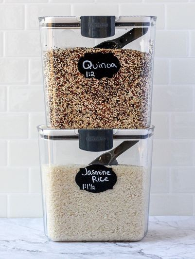 grain keepers with quinoa and rice