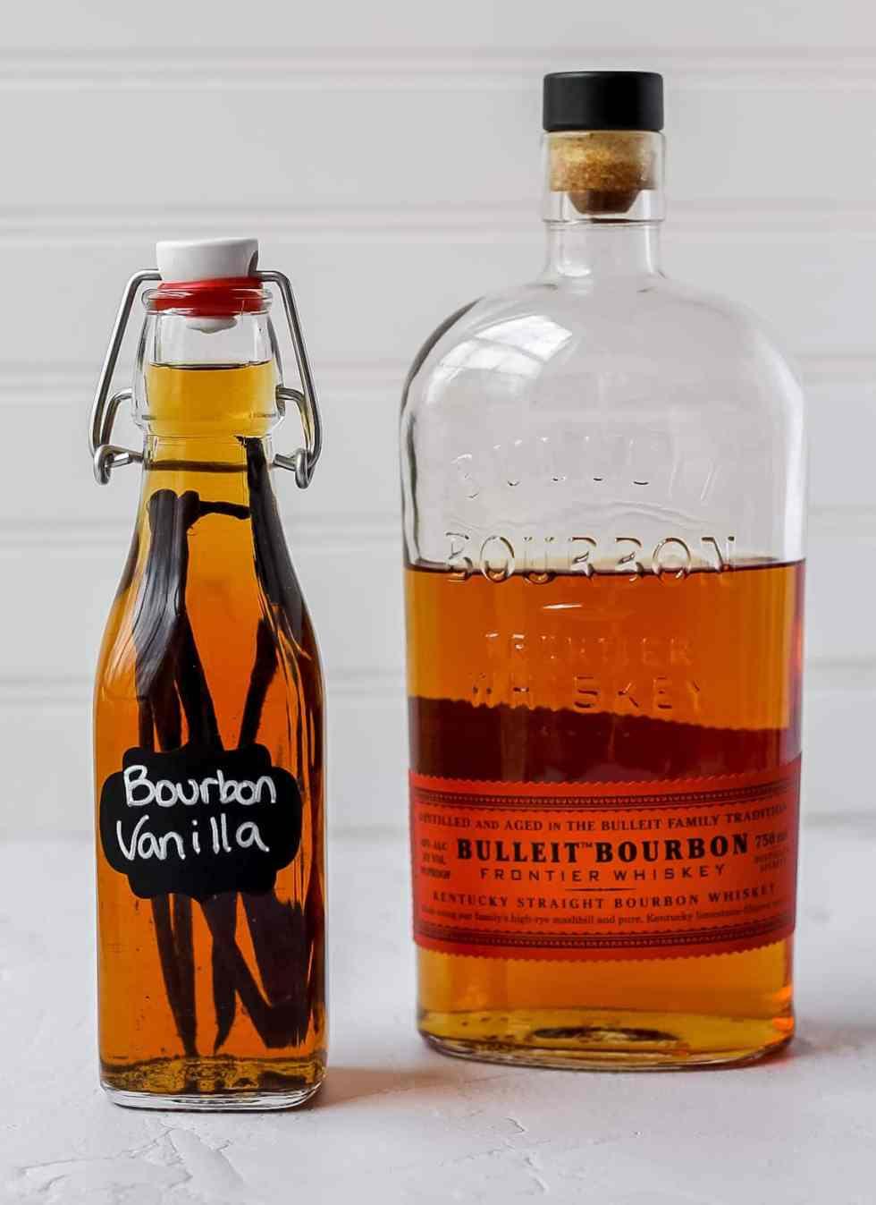 bourbon vanilla and bottle of bourbon