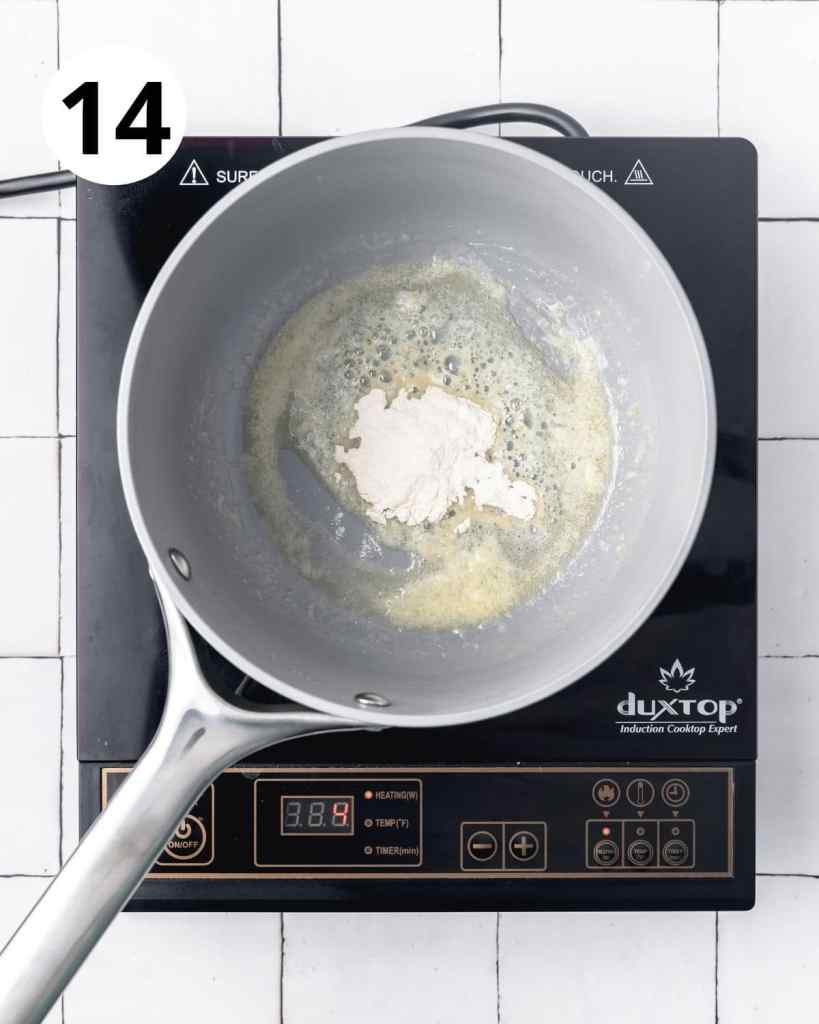 adding flour to melted butter