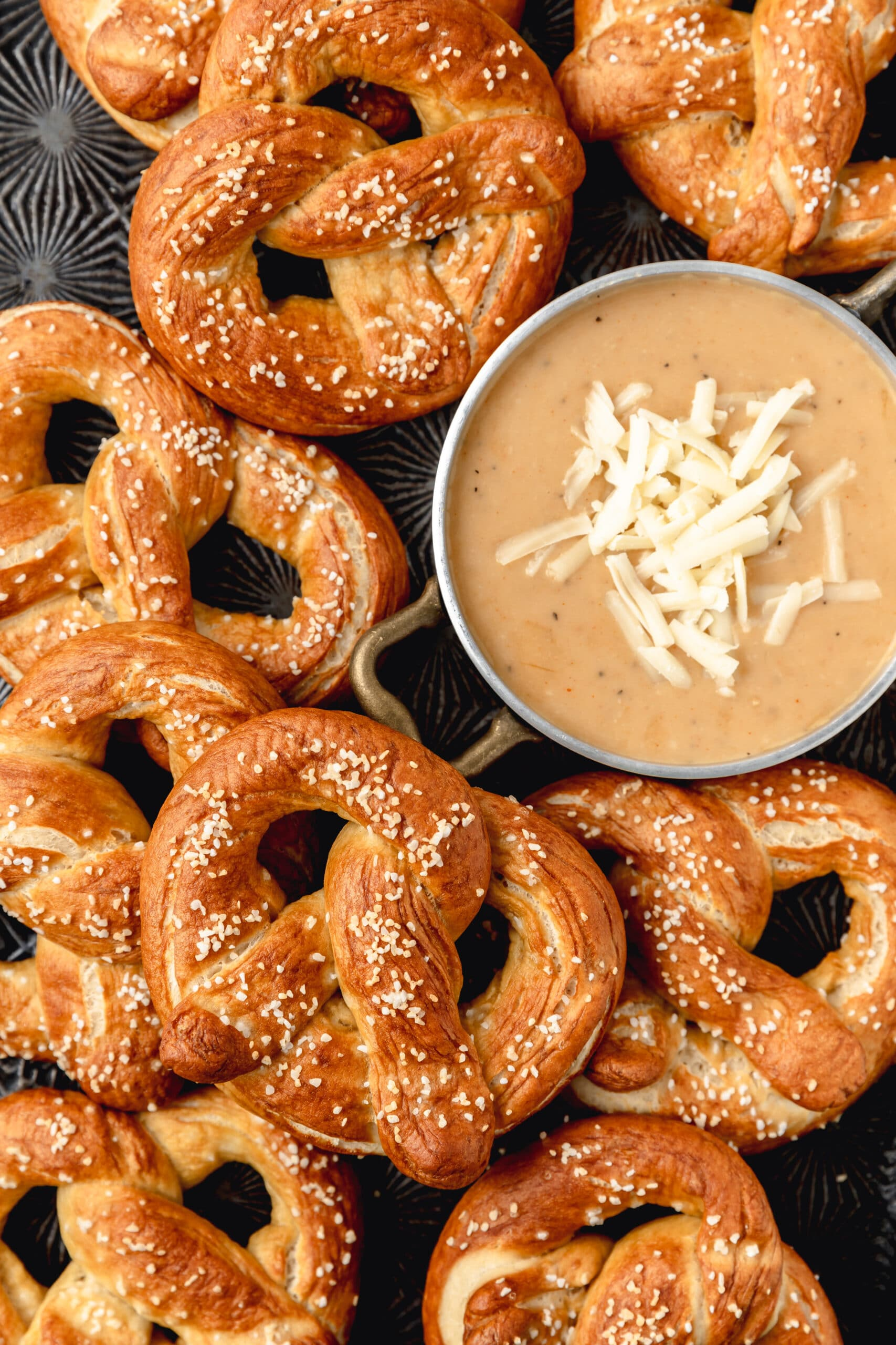 sourdough soft pretzels with homemade beer cheese dip