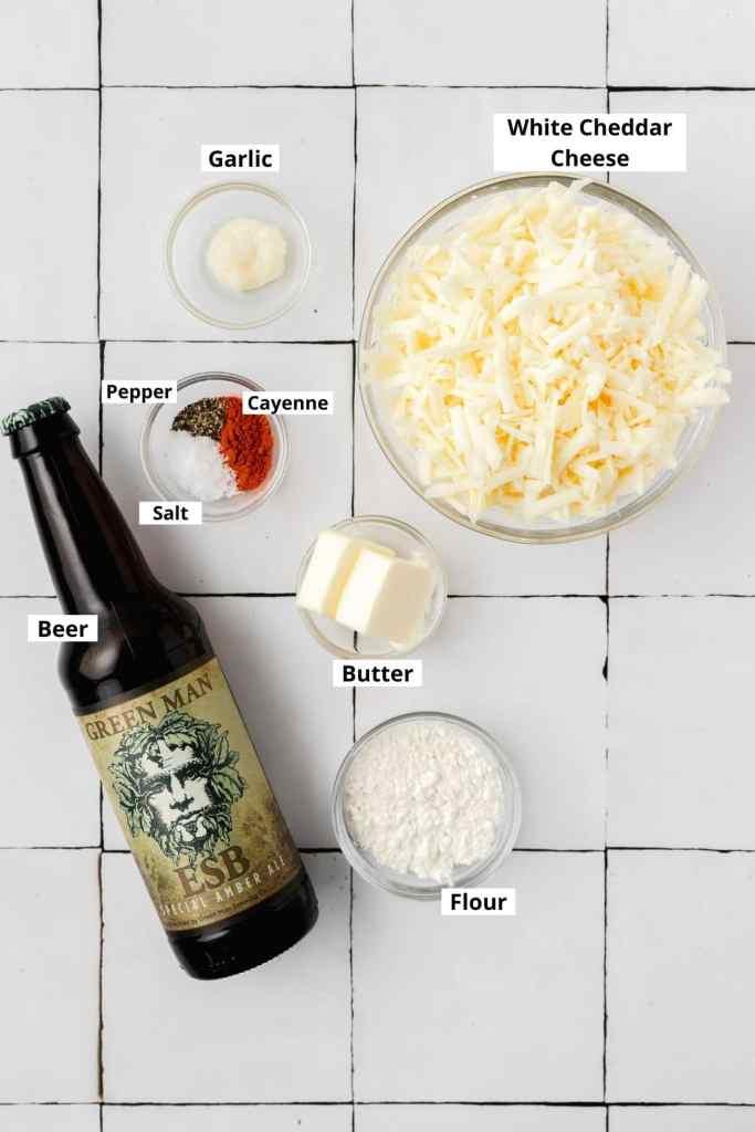 labeled shot of beer cheese dip ingredients