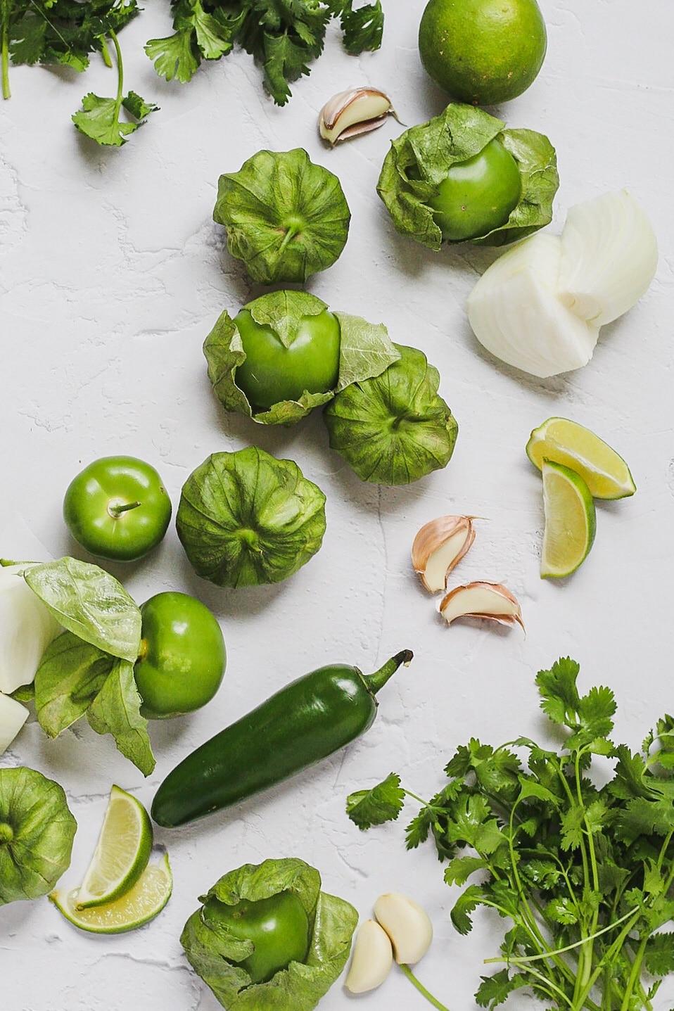 raw ingredients for fresh tomatillo salsa