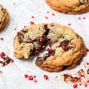 broken chocolate raspberry cookies