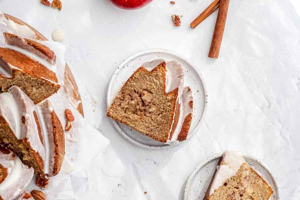 single slice of brown butter apple cider bundt cake