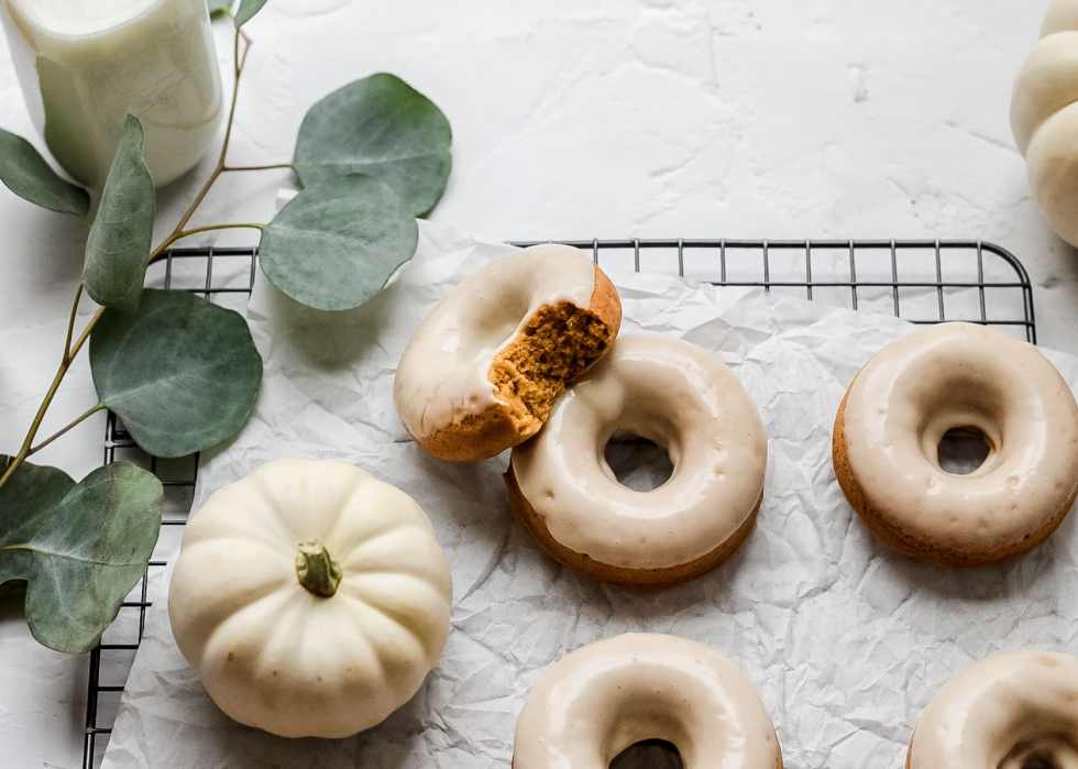 brown butter pumpkin baked donuts with vanilla glaze