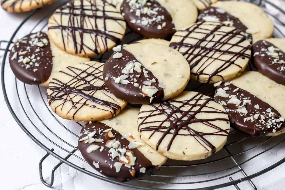 almond shortbread cookies dipped in dark chocolate