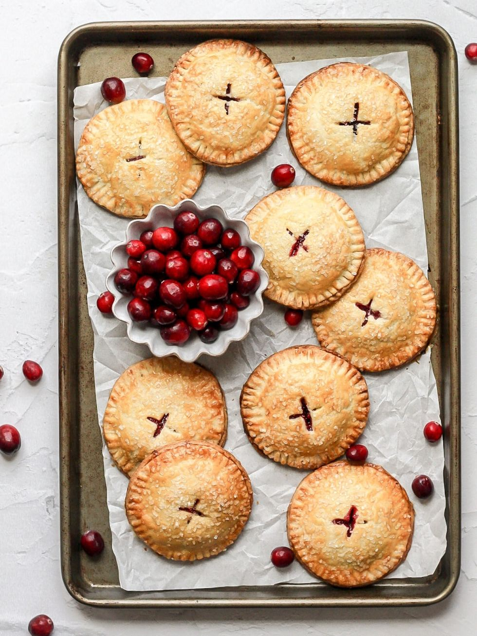 cranberry hand pies and fresh cranberries