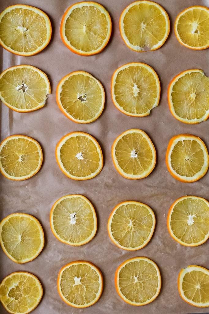 Orange slices on parchment