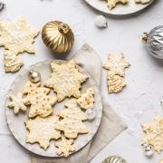 christmas shortbread cookies in stars and christmas trees