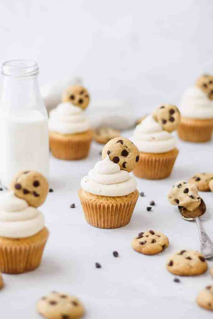 brown butter chocolate chip cookie dough cupcakes