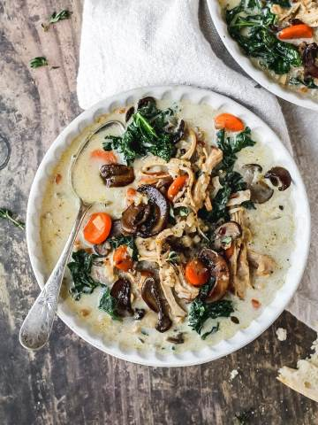 chicken wild rice soup with crispy mushrooms
