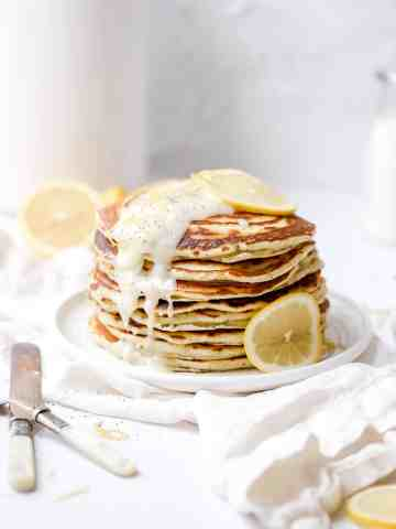 lemon poppy seed sourdough pancakes with icing drizzle