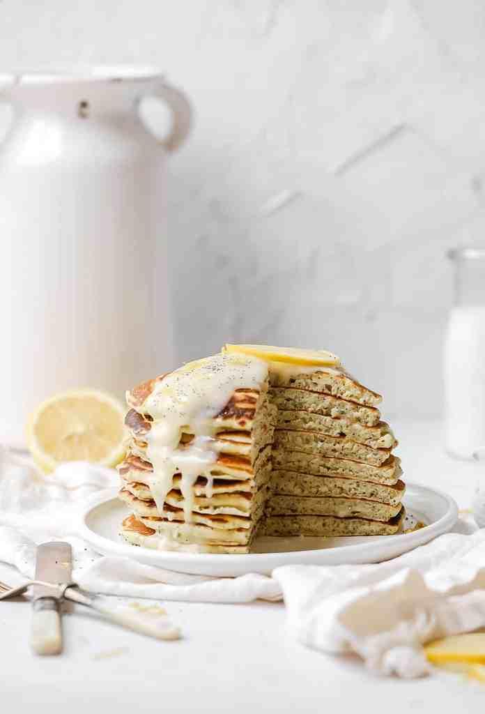lemon poppy seed sourdough pancakes stack