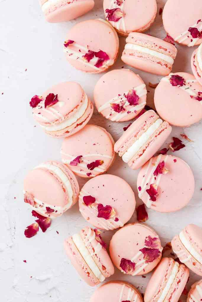white chocolate rose macarons