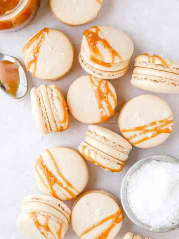 salted caramale french macarons