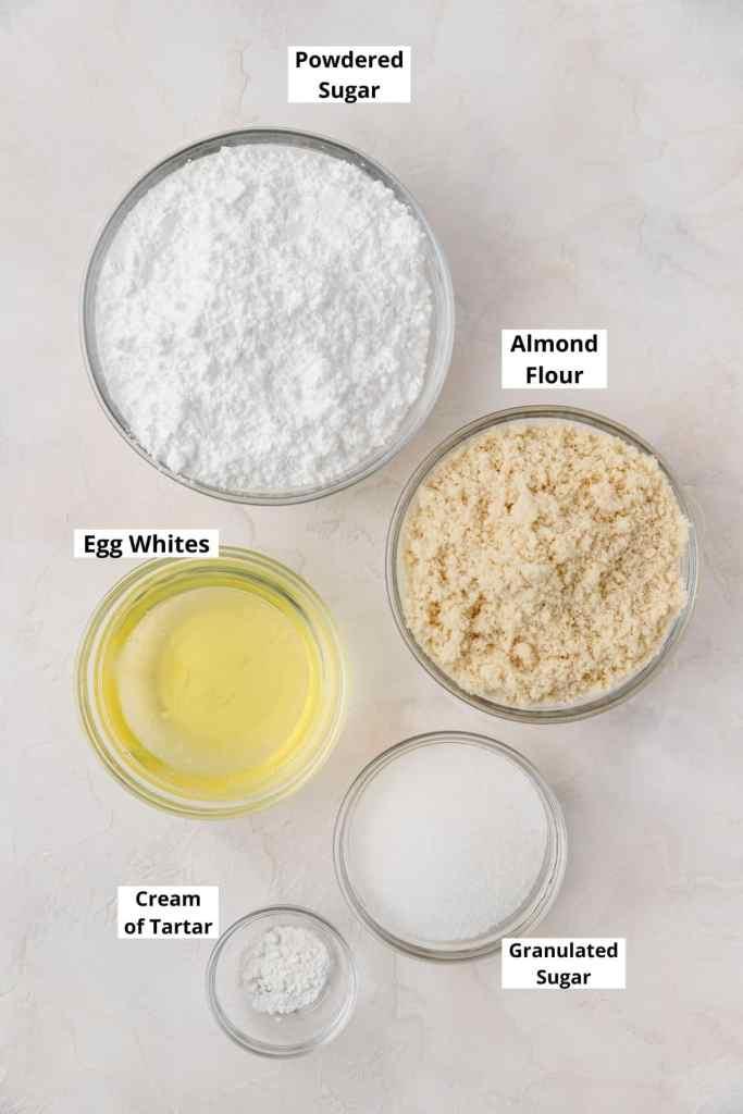 labeled shot of macaron ingredients