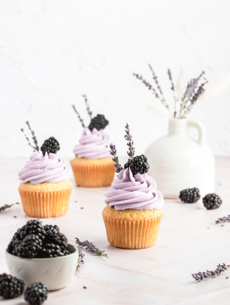 blackberry filled cupcakes with lavender buttercream
