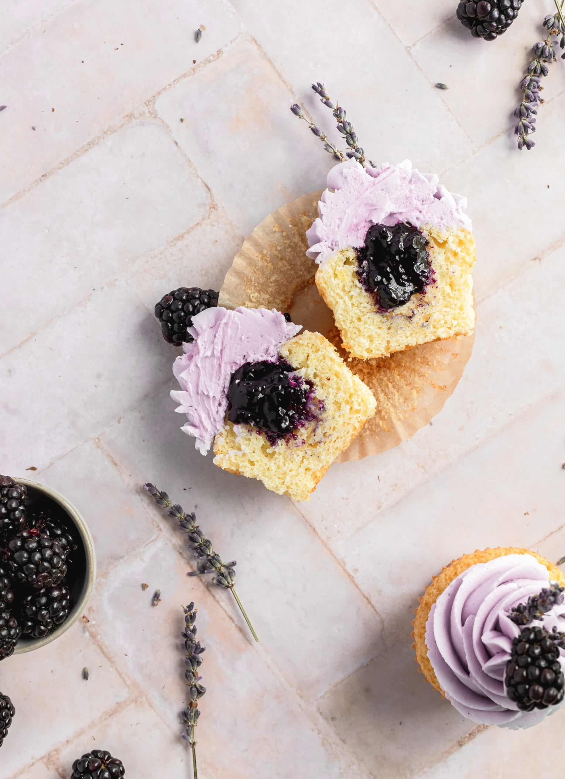 cupcake cut in half to see blackberry filling