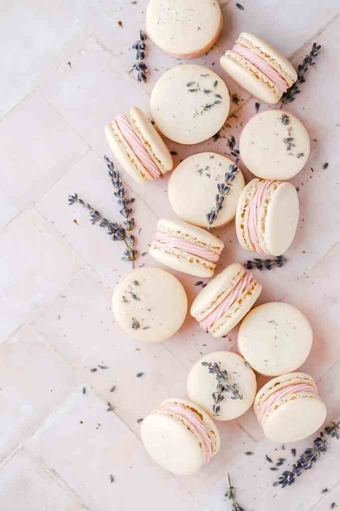 blackberry lavender macarons wide shot
