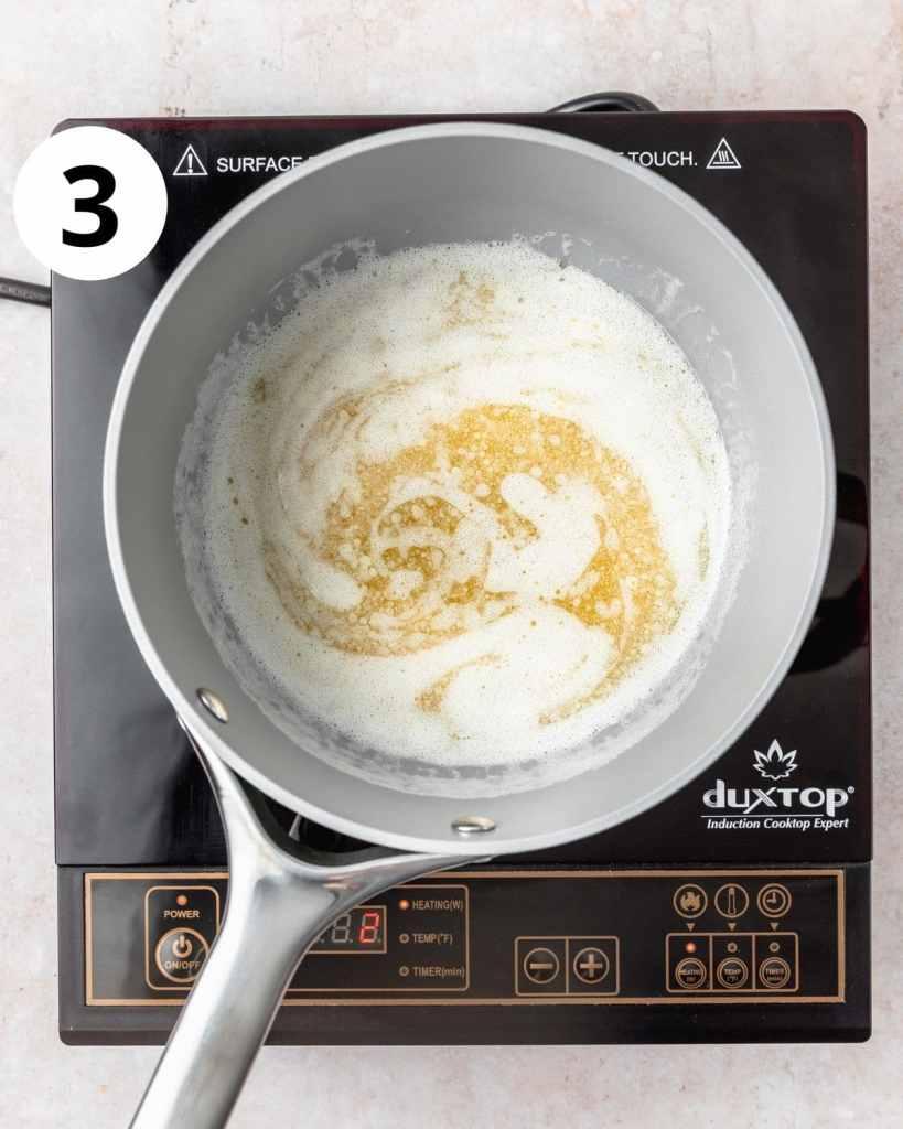 butter in a pot starting to foam
