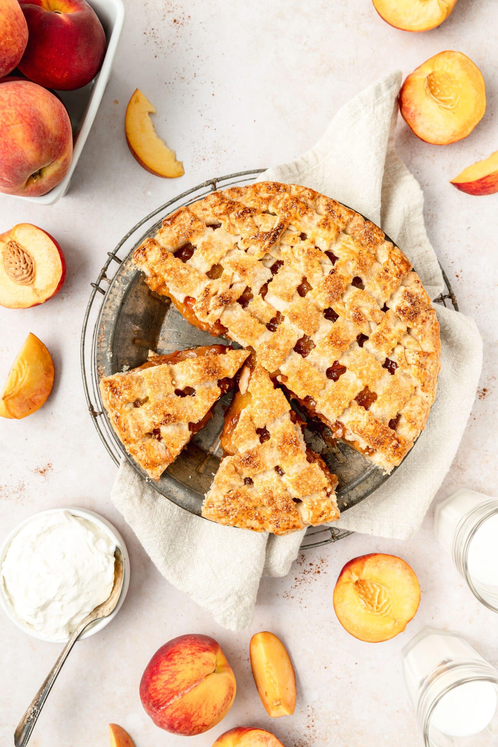 bourbon peach pie cut into slices