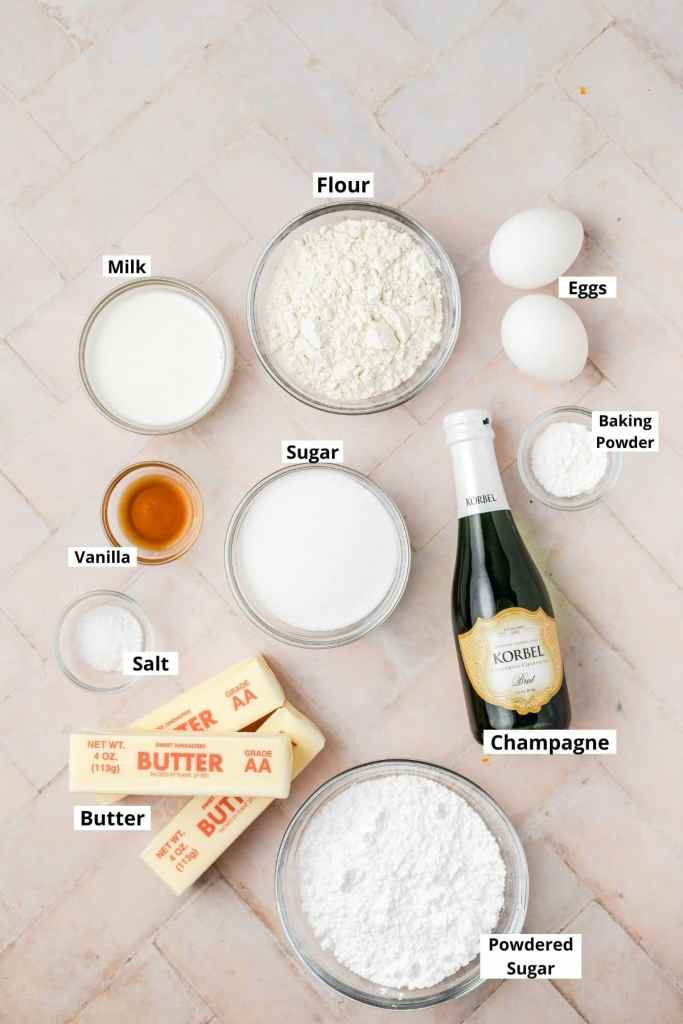 labeled shot of champagne cupcake ingredients