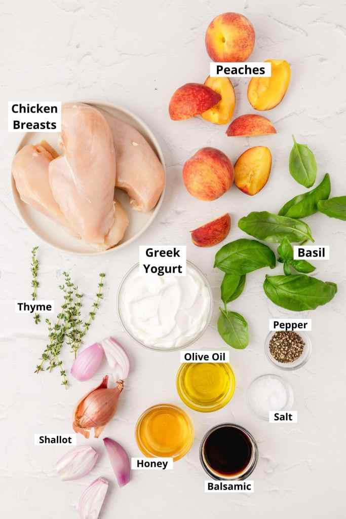 labeled shot of roasted chicken and peaches ingredients