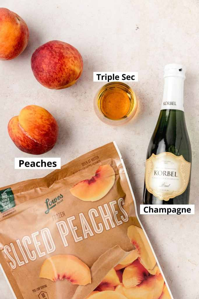 labeled shot of peach bellini ingredients
