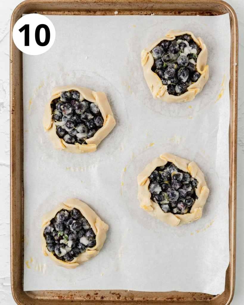 mini blueberry galettes before baking