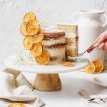 close up shot of orange cardamom layer cake