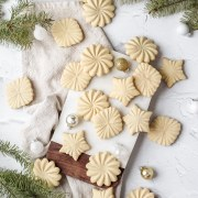 close up shot of brown butter stamp cookies