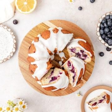 blueberry sour cream bundt cake with lemons